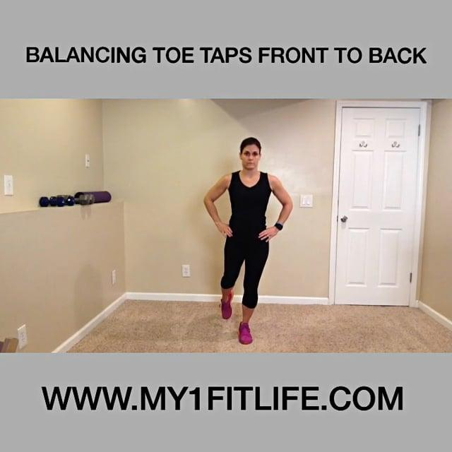 BW BALANCING TOE TAPS FRONT TO BACK DEAD BUG INTERMEDIATE Begin by standing tall with core engaged Shift your body weight to one foot to and soften that knee to help balance Lift opposite foot off