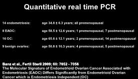 Quantitative real time PCR 14 endometriosis: age 34.8 ± 6.3 years; all premenopausal 8 EAOC: age 58.5 ± 12.6 years; 1 premenopausal, 7 postmenopausal 16 OC: age 65.6 ± 12.
