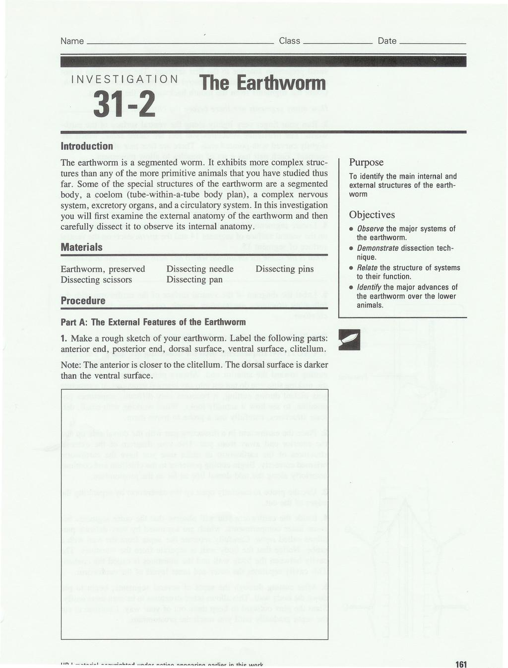 31-2. The Earthworm. . Relate the structure of systems ...