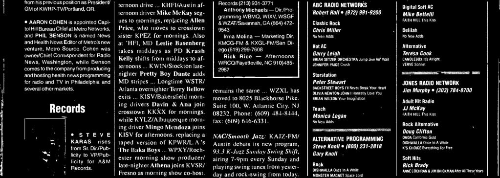 .. KSV/Bakersfield morning drivers Davin & Ana join crosstown KKÑX for mornings, while KYLZ/Albuquerque morning driver Mingo Mendoza joins KSV for afternoons, replacing a taped version of KPWR/L.A.'s The Baka Boys.