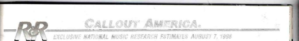 52.0% ARTST TTLE LABEL(S CALLOUT AMERCA 67 EXCLUSVE NATONAL MUSC RESEARCH ESTMATES AUGUST 7, 1998 CALLOUT AMERCAS song selection is based on the top titles from the R &R CHR/Pop chart for the airplay