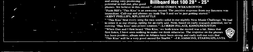"32) and third with women 18-24 (4.00). ""'This Kiss"" by Faith Hill (Warner Bros.) is testing across the board. ""Kiss"" is seventh overall (3.79), eighth 12-17 (3.92), 10th 18-24 (3."