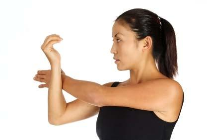 Shoulder Rotation Lie flat on floor, legs straight. Stretch arms straight out to side.