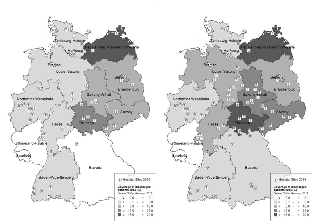 Buda et al. BMC Public Health (2017) 17:612 Page 5 of 13 Rhineland-Palatine and Saarland. In the year 2014, an additional 35 sites became part of the sentinel network, thus covering 4.