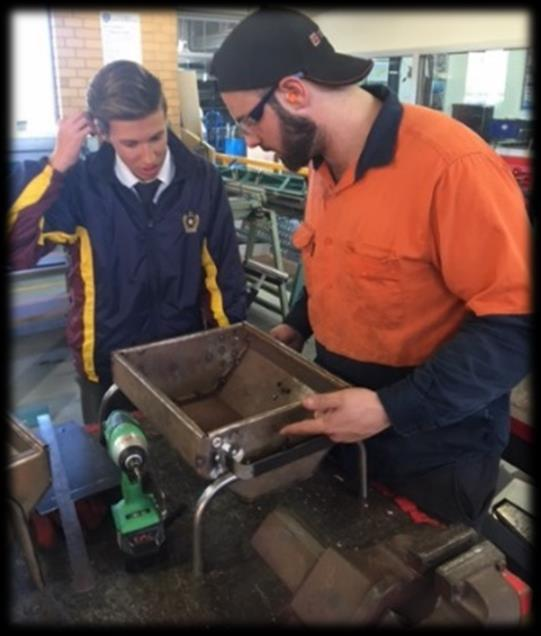 Adrian Fregona ~ Class of 2015 Old scholar, Adrian Fregona, volunteered a day of his services to work with Metalwork students welding and fabricating their projects.