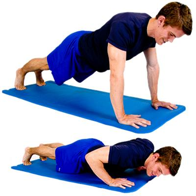 TABLE PUSH UPS Perform a push up as shown while leaning on a table PUSH UP Lying
