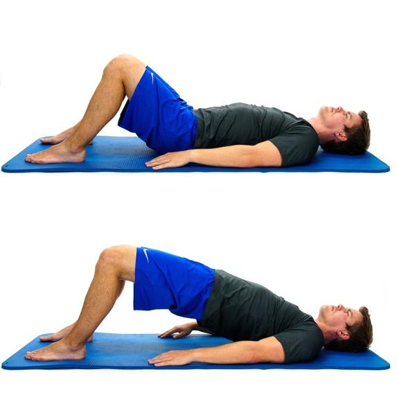 "BRIDGING While lying on your back, tighten your lower abdominals, squeeze your buttocks and then raise your buttocks off the floor/bed as creating a ""Bridge"" with"