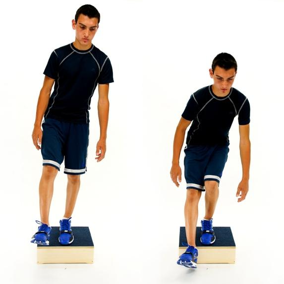 Then return to the original position with both feet on the step/box. Maintain proper knee alignment: Knee in line with the 2nd toe and not passing in front of the toes.