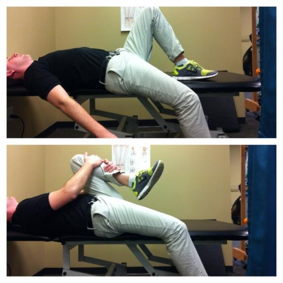 Roll the shoulders back and down and gently engage your abdominals to support the low back.