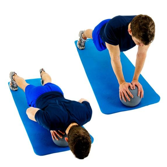 MEDICINE BALL - PUSH UPS Perform push-ups while both hands are on a medicine ball.