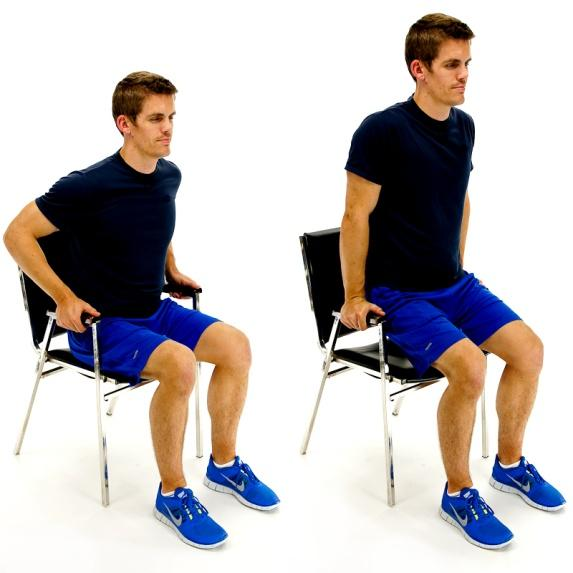 DIPS IN CHAIR While sitting in a chair with arm rests, push yourself upwards so that you lift your buttocks of