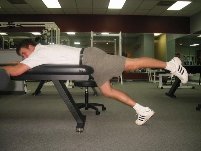 Prone Hip Extension - Table Lay over edge of bed.