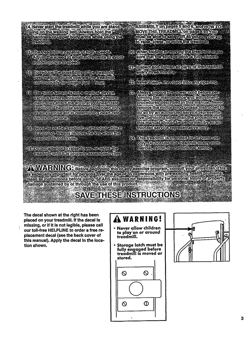 Sw Rs Er A S Proform Users Manual L Mm M Model Treadmill Wiring Diagram The Decal Shown At Right Has Been Placed On Your