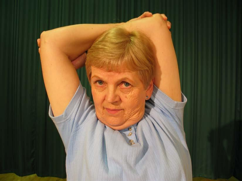 3 To stretch neck muscles: Sit or stand straight and lower left ear to left shoulder.