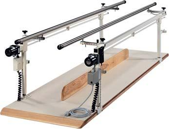 010221 10 15-28 27-42 Electric Height Adjustable Parallel Bars Brackets included to lower rails to child height Includes manual override crank and removable abduction board.