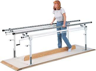 Accessories 010231 Abduction Board 010232 Non-Slip Matting Crank Height Adjustable Parallel Bars Hand crank height of each stainless steel handrail adjusts from 26 to 39 Hand controls allow easy