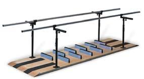 Patented Ambulation And Mobility Platform (2) anti-slip treads on each end. 1.5 diameter one-piece, stainless steel handrails.