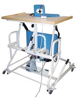 Hand Control adjusts patient height and lifts patient into position. Laminate extra-wide top is 40.5 W x 25.5 D with raised rim.