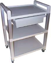 29 working height with 3 swivel casters. Available in gray or white. 150lb weight capacity.