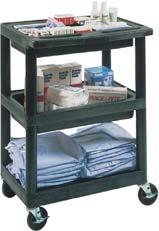 Supply Cart Three tub shelf supply cart with 4 swivel casters.