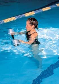 The foam floats provide buoyancy as the hand bars are moved under the water, enhancing upper body strength and range of motion.