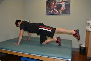 "Exercise 8: Hip Extension Starting Position: Assume the ""all-four's"" position."
